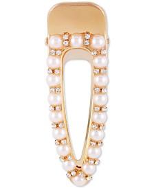 GUESS Gold-Tone Pavé & Imitation Pearl Hair Clip
