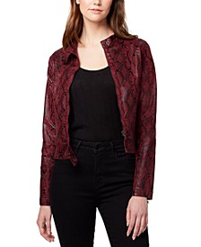 Faux-Leather Snake Print Jacket