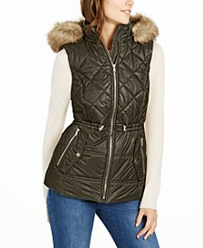 Hooded Faux-Fur-Trim Puffer Vest