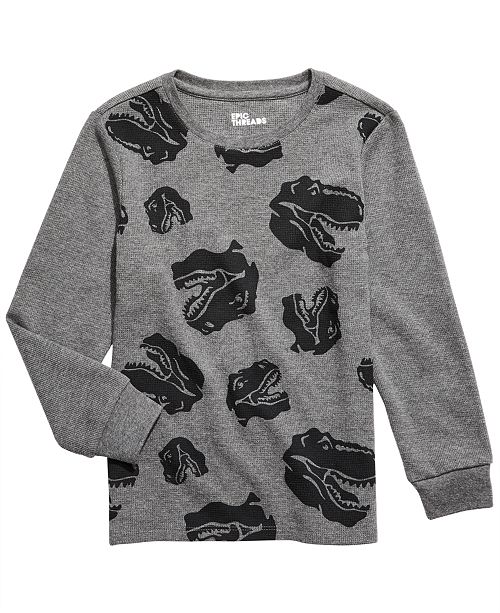Epic Threads Little Boys Dino Head Thermal T-Shirt, Created For Macy's