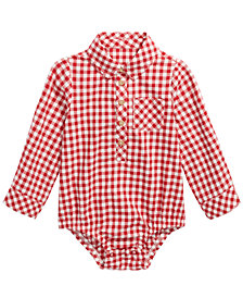 First Impressions Baby Boys Cotton Check Long-Sleeve Bodysuit, Created For Macy's