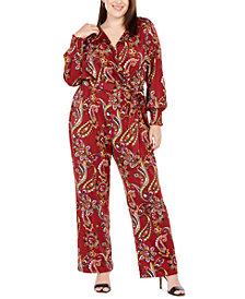 NY Collection Plus Size Faux-Wrap Jumpsuit