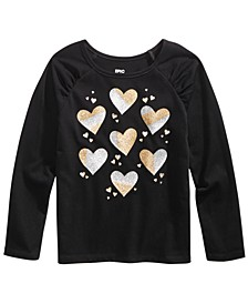 Toddler Girls Two-Tone Metallic Hearts T-Shirt, Created For Macy's