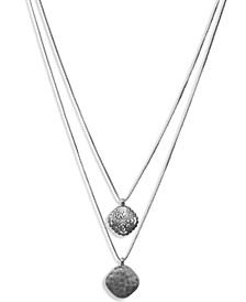 "Silver-Tone Geometric Openwork Double-Row Pendant Necklace, 19"" + 2"" extender"