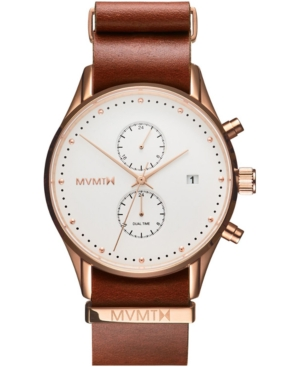 Mvmt Men's Voyager Rosewood Leather Strap Watch 42mm In Natural Tan