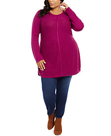 Style & Co Plus Size Seam-Front Tunic Sweater, Created For Macy's