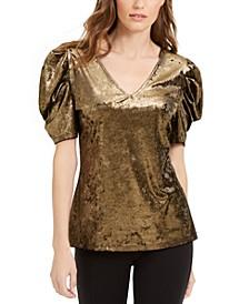 INC Velvet Puff-Sleeve Top, Created For Macy's