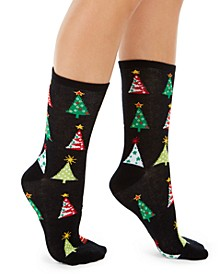 Women's Holiday Trees Crew Socks, Created For Macy's