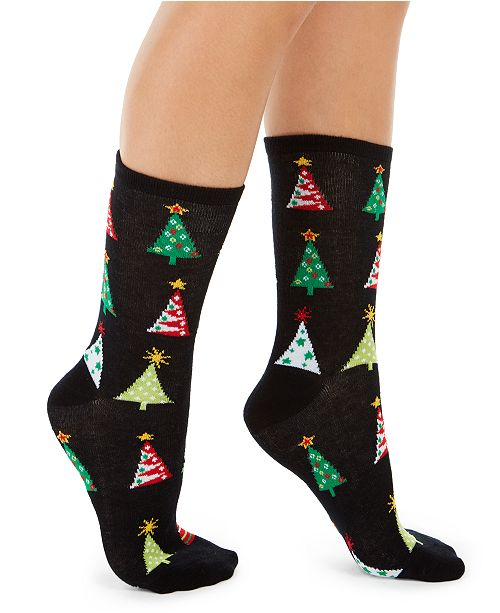 Charter Club Women's Holiday Trees Crew Socks, Created For Macy's