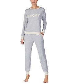 Embroidered Top & Jogger Pants Pajamas Set