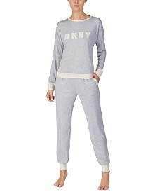 DKNY Embroidered Top & Jogger Pants Pajamas Set