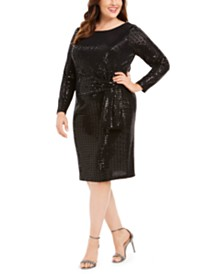 Betsy & Adam Plus Size Metallic Sheath Dress