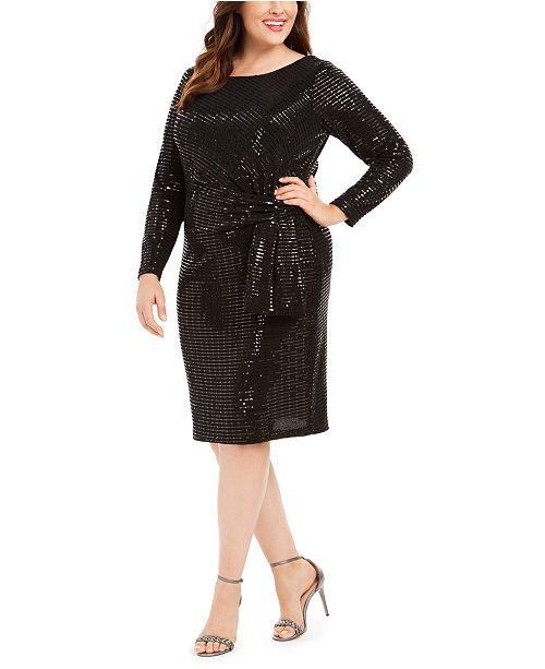 Betsy & Adam Plus Size Metallic Sheath Dress