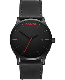 Men's Classic Black Leather Strap Watch 45mm