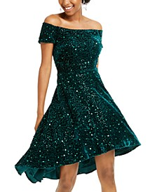 Juniors' Velvet Sequined Off-The-Shoulder Dress