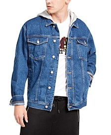 Men's Denim Jacket with Removable Gray Fleece Hood