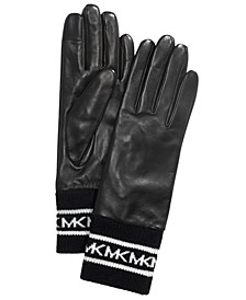 Sporty Knit & Leather Gloves