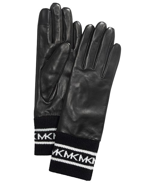 Michael Kors Sporty Knit & Leather Gloves