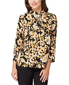 Floral Faux-Tie-Neck Top