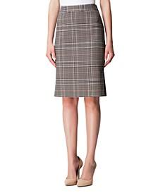 Side-Pleat Plaid Pencil Skirt