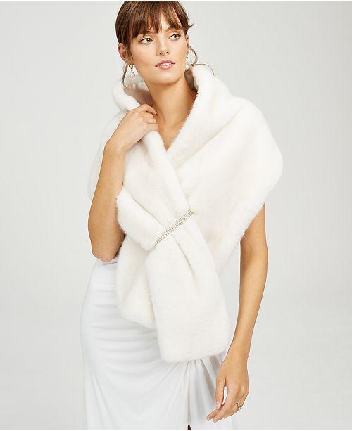 Adrianna Papell Embellished Faux-Fur Shrug