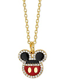 "Mickey Mouse Crystal Pendant Necklace in Gold-Plate, 16"" + 2"" extender"