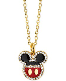 """Disney Mickey Mouse Crystal Pendant Necklace in Gold-Plate, 16"""" + 2"""" extender"""