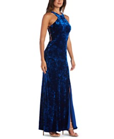 Morgan & Company Juniors' Velvet Halter-Neck Gown