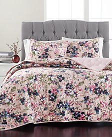 Martha Stewart Collection Velvet Floral Quilt Collection, Created For Macy's