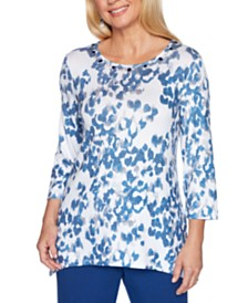 Alfred Dunner Sapphire Skies Animal Shimmer Printed Top