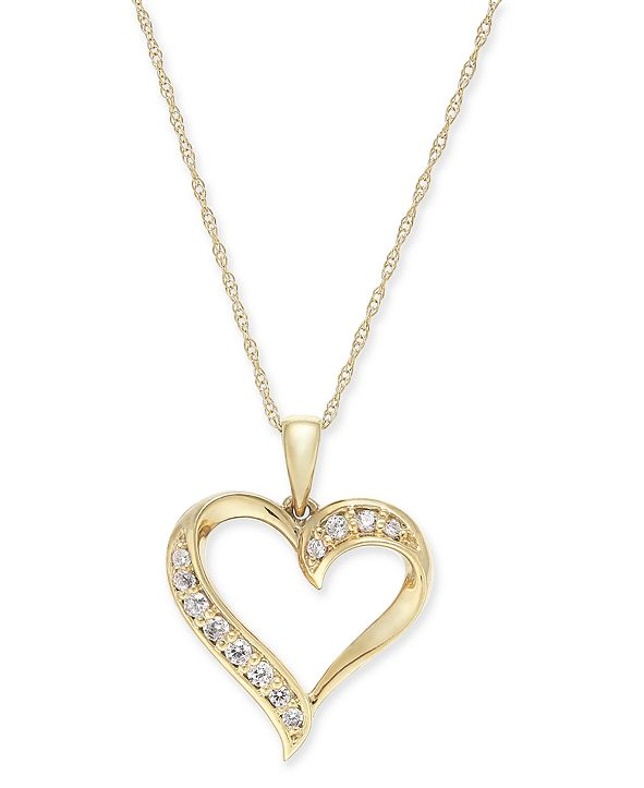 """Macy's Diamond Heart 18"""" Pendant Necklace (1/6 ct. t.w.) in 14k Gold (Also available in 14k White or Rose gold)"""