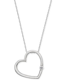 "Diamond Heart 18"" Pendant Necklace (1/10 ct. t.w.) in 14k White Gold (Also Available in 14k Gold)"