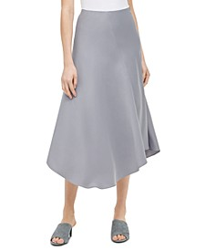 Asymmetrical-Hem Satin Midi Skirt