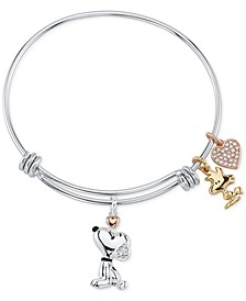 Unwritten Snoopy & Woodstock Bangle Bracelet in Tri-Tone Stainless Steel with Silver Plated Charms