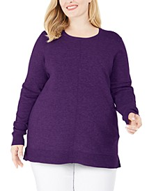 Plus Size Scoop-Neck Seamed Sweater, Created for Macy's