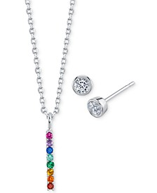 Mini Rainbow Pendant Necklace and Crystal Stud Earrings in Fine Silver-Plate, Created for Macy's