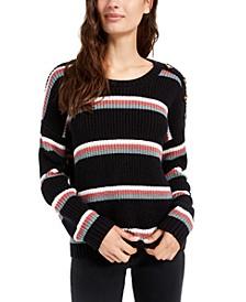 Juniors' Button-Shoulder Sweater