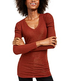 INC Ruched Shine V-Neck Top, Created For Macy's