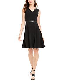 Calvin Klein Faux-Leather-Trim Fit & Flare Dress