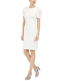 Puff-Shoulder Sheath Dress