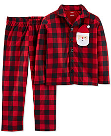 Carter's Little & Big Boys 2-Pc. Fleece Buffalo Check Santa Pajamas Set