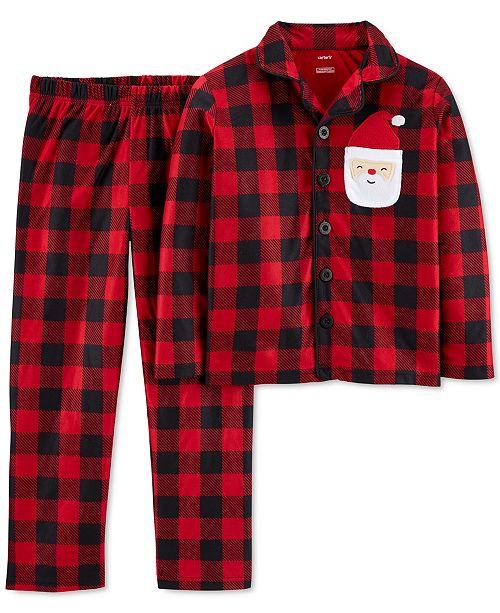 Carter's Little & Big Boys 2-Pc. Fleece Buffalo Check Santa Pajamas Set