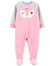Baby Girls Fleece Owl Footie Pajamas