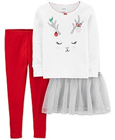 Toddler Girls 3-Pc. Reindeer Tutu Pajamas Set