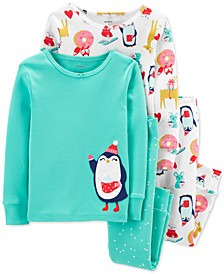 Toddler Girls 4-Pc. Cotton Snug-Fit Penguin Pajamas Set