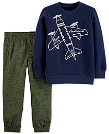 Baby Boys 2-Pc. Airplane Fleece Sweatshirt & Poplin Pants Set
