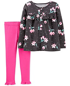 Baby Girls 2-Pc. Floral Top & Leggings Set