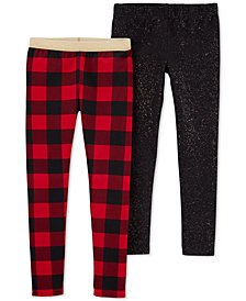 Carter's Big & Little Girls 2-Pc. Buffalo Check & Glitter Leggings Set