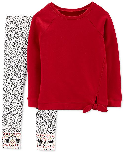Carter's Big & Little Girls 2-Pc. Fleece Top & Printed Leggings Set
