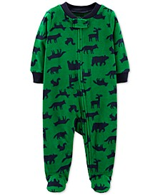 Baby Boys Footed Fleece Woodland Creatures Coverall